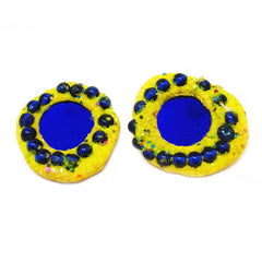 YELLOW AND BLUE DOTTY EARRINGS