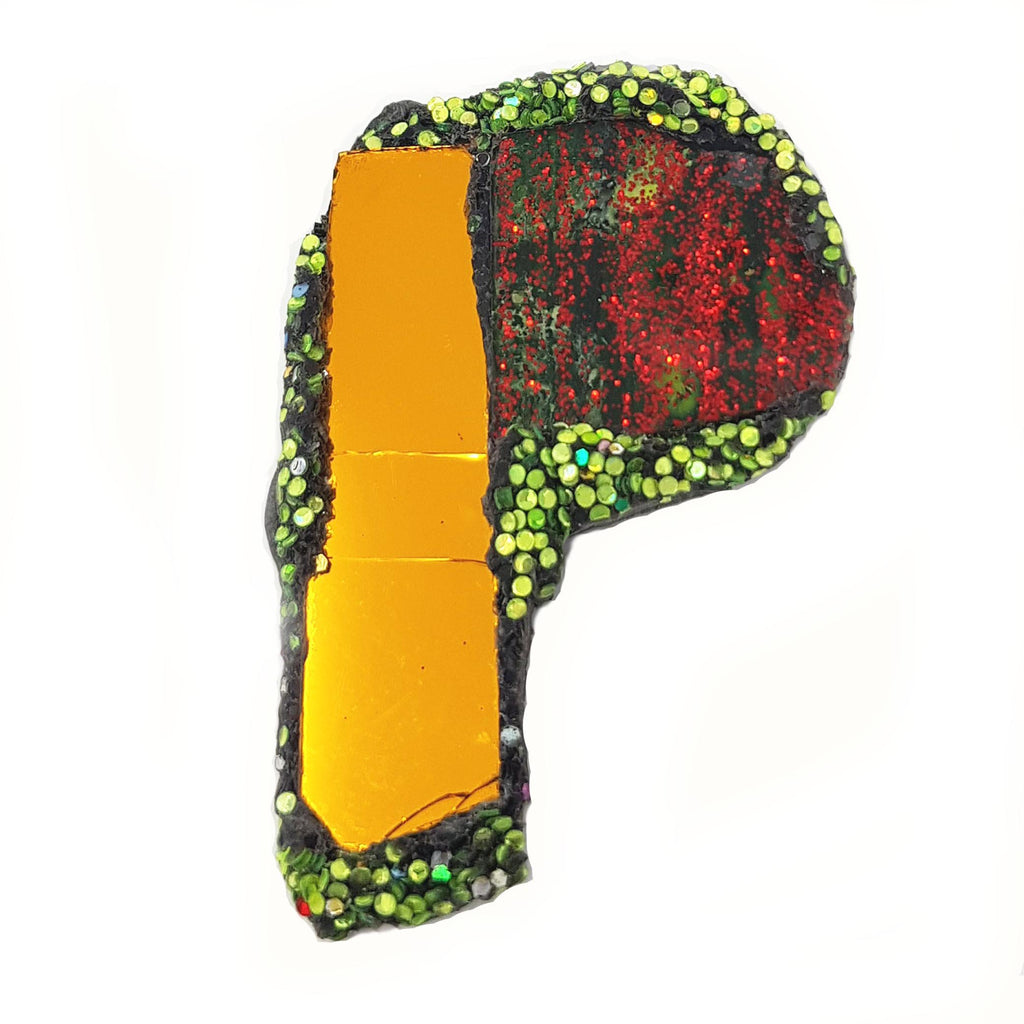 LETTER P - RED AND ORANGE BROOCH