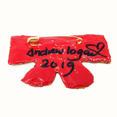 GOLD AND RED BOW TIE BROOCH