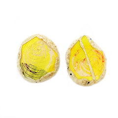 YELLOW AND WHITE SWIRL EARRINGS