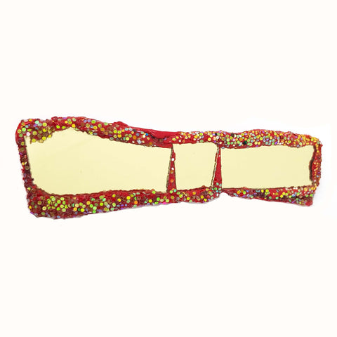 RED AND GOLD STRAIGHT BOW TIE BROOCH