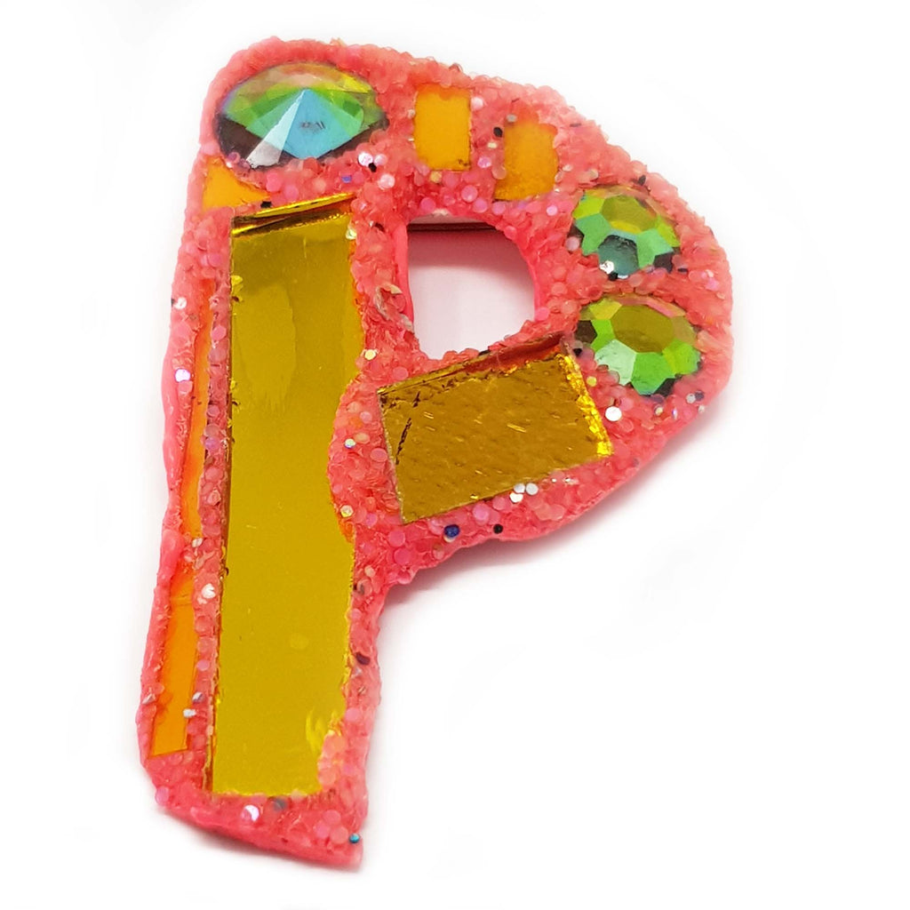 LETTER P - ORANGE BROOCH