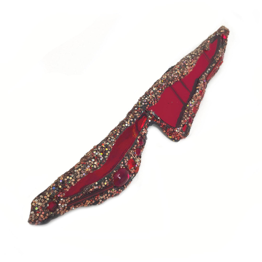 ANDREW LOGAN RED LIGHTENING BROOCH, featuring red glass, crystals and glitter