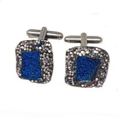 BLUE AND SILVER SQUARE CUFFLINKS