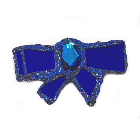 BLUE BOWTIE WITH TAILS BROOCH