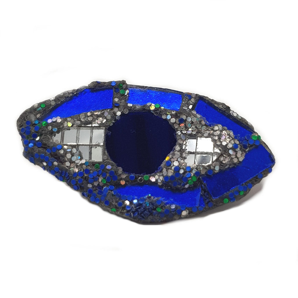 BLUE AND SILVER EYE BROOCH