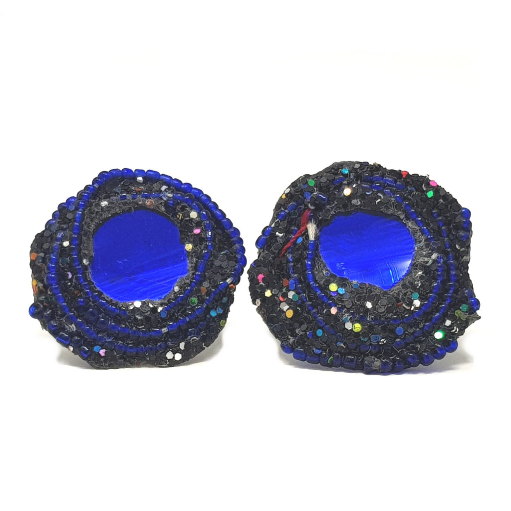 BLUE ROUND CLIP-ON SWIRL EARRINGS