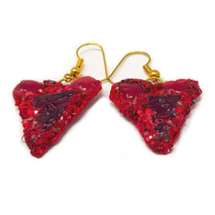 RED HEART PENDANT EARRINGS