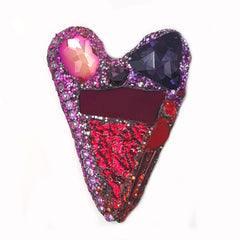 RED, PINK AND PURPLE HEART BROOCH