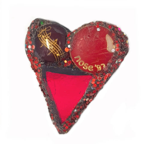 SMALL RED HEART BROOCH