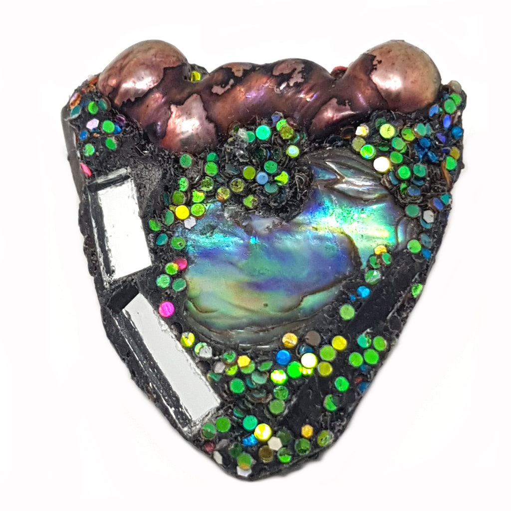 PAUA, BRONZE & GREEN HEART BROOCH