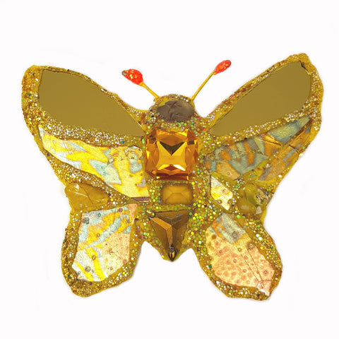 A GOLDEN ONE - AMBER BUTTERFLY BROOCH