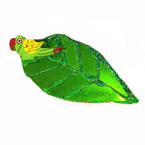 PETAL - GREEN LEAF AND PARROT BROOCH
