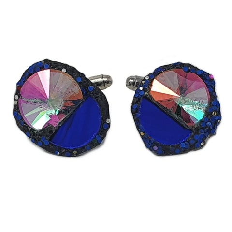 BLUE AND PINK CRYSTAL CUFFLINKS