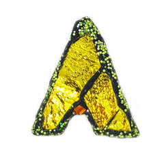 LETTER A - YELLOW & GREEN BROOCH