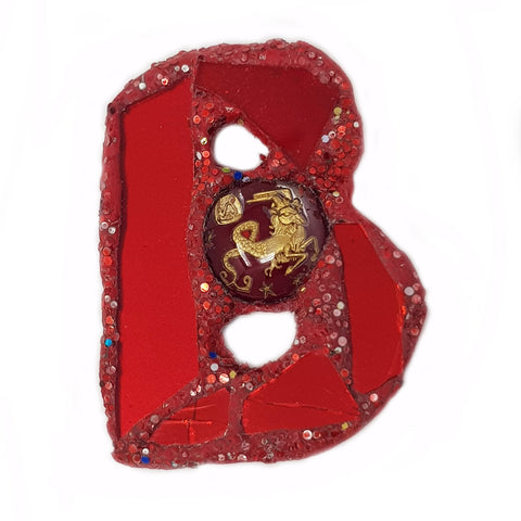 LETTER B - RED BROOCH