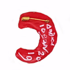 LETTER C - RED BROOCH