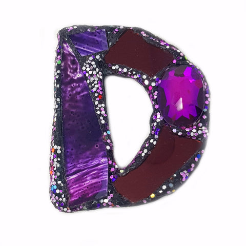 LETTER D - PURPLE BROOCH