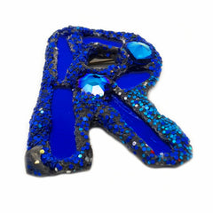 LETTER R - BLUE BROOCH