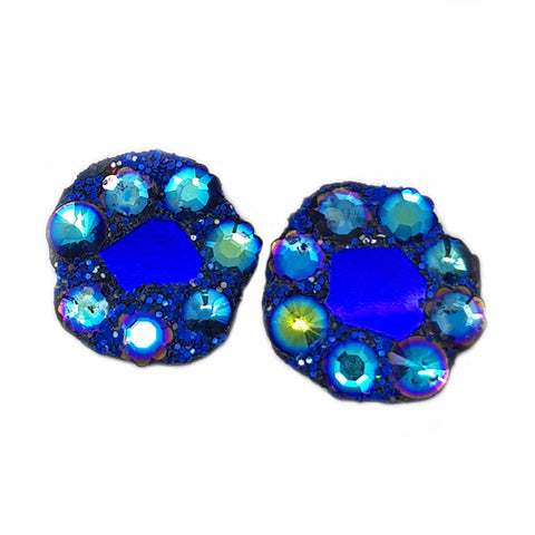 BLUE CRYSTAL ROUND CLIP-ON EARRINGS