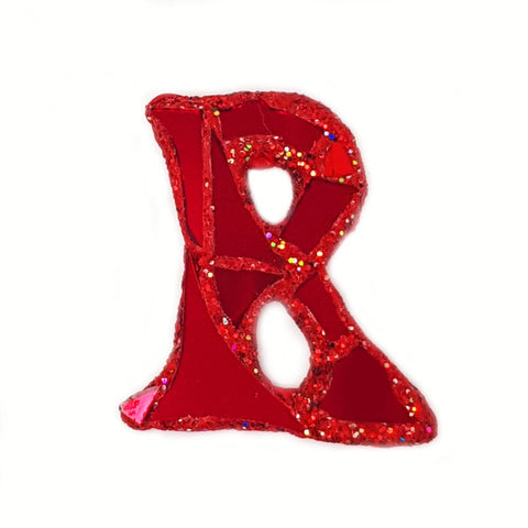 RED R - LETTER BROOCH