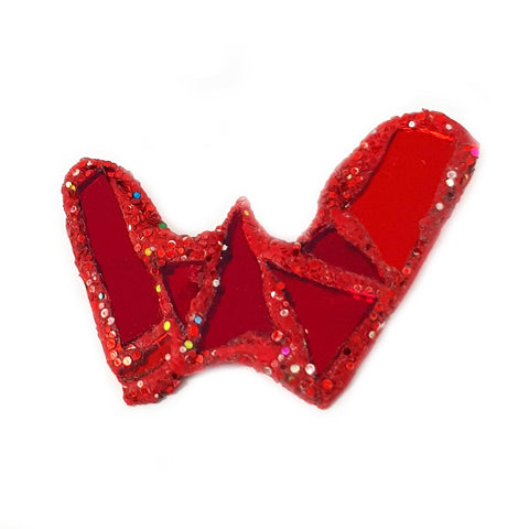 LETTER W - RED BROOCH