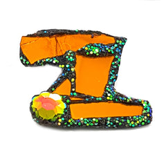 LETTER Z - ORANGE and GREEN BROOCH