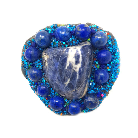 BLUE MARBLED STONE RING