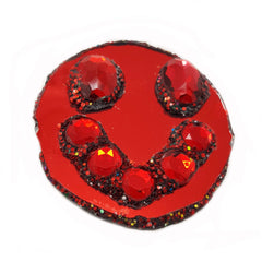 RED HOT SMILEY FACE BROOCH