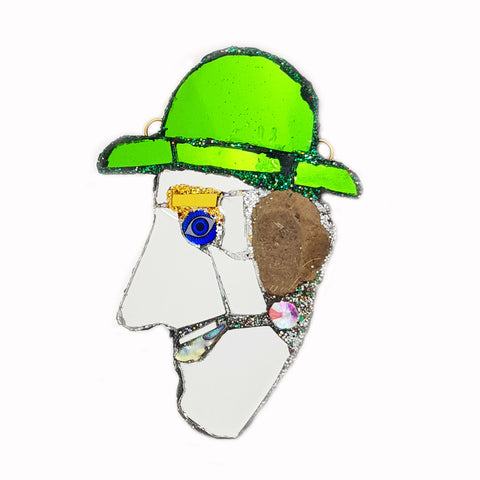 GREEN BOWLER HAT MAN BROOCH