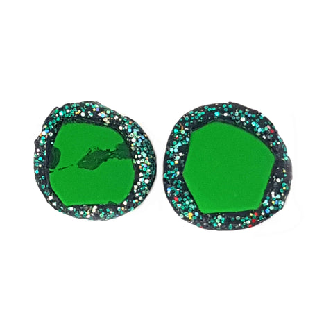 GREEN ROUND CLIP-ON EARRINGS