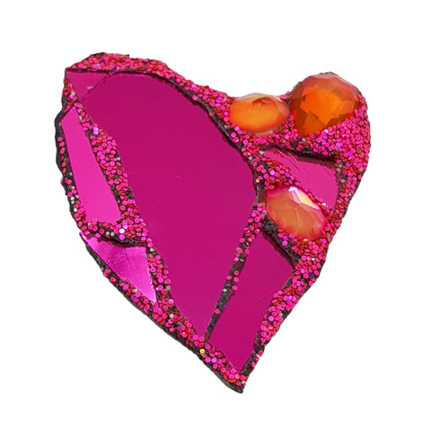 PINK HEART BROOCH - LOVE II