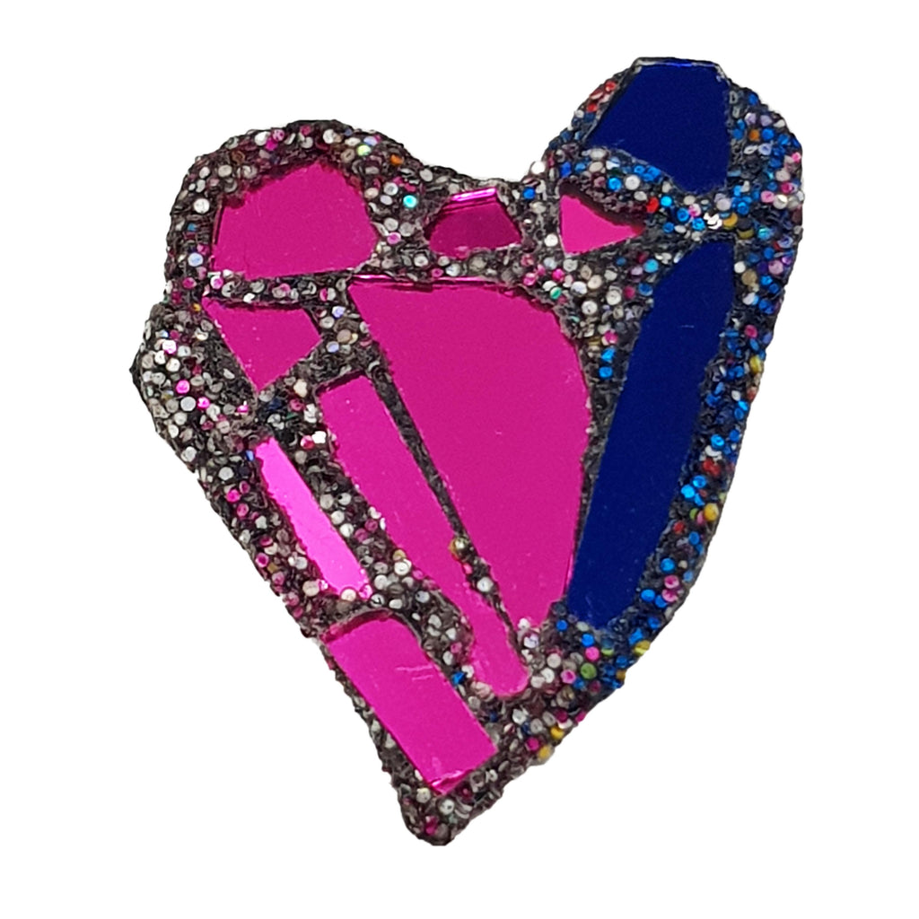 Andrew Logan Pink and Blue Heart Brooch