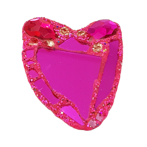 PINK & ORANGE HEART BROOCH