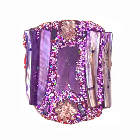 LARGE PURPLE COCKTAIL RING