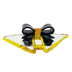 YELLOW & BLACK DOUBLE BOWTIE BROOCH