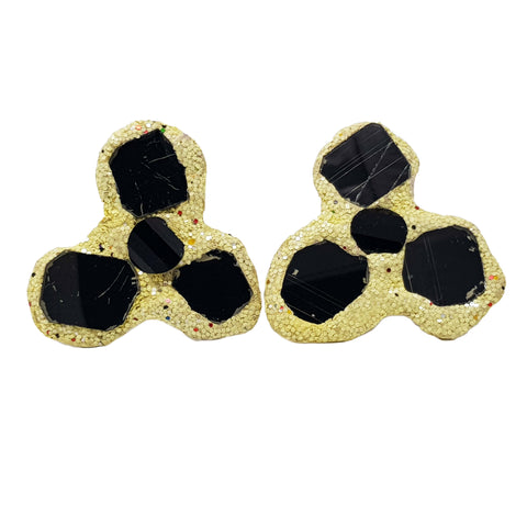 PALE YELLOW & BLACK TREBOL CLIP-ON EARRINGS