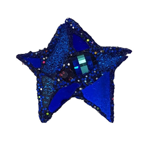 BLUE GLITTERY STAR BROOCH