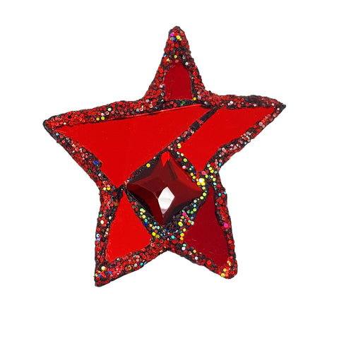 RED STAR & SQUARE CRYSTAL BROOCH