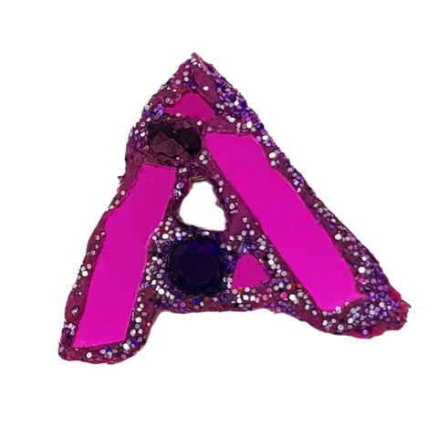 LETTER A -  PURPLE BROOCH