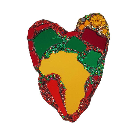 MULTI-COLOURED HEART BROOCH - AFRICA