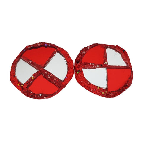 HARLEQUIN RED ROUND CLIP-ON EARRINGS