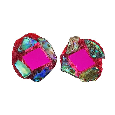 PINK PAUA CLIP-ON EARRINGS