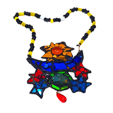 MULTICOLOURED NECKLACE OR BROOCH - HARLEQUIN UNIVERSE, 1992
