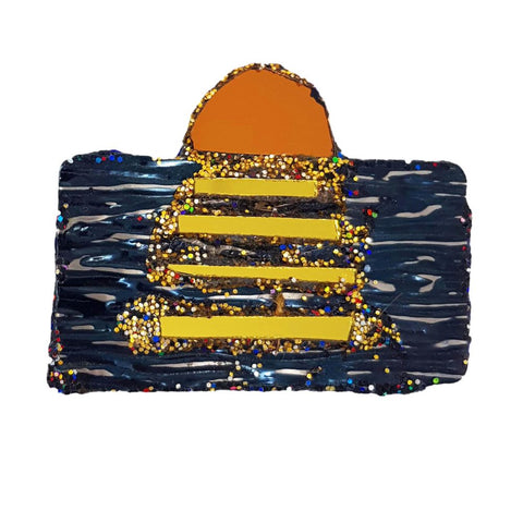 GOLD AND BLACK SUNSET BROOCH - SUNSET GOD