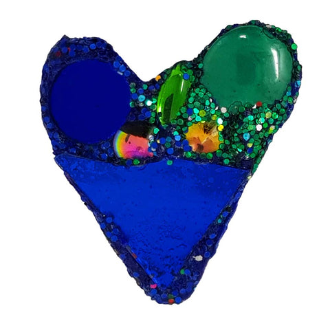 BLUE HEART BROOCH - GREEN LOVE