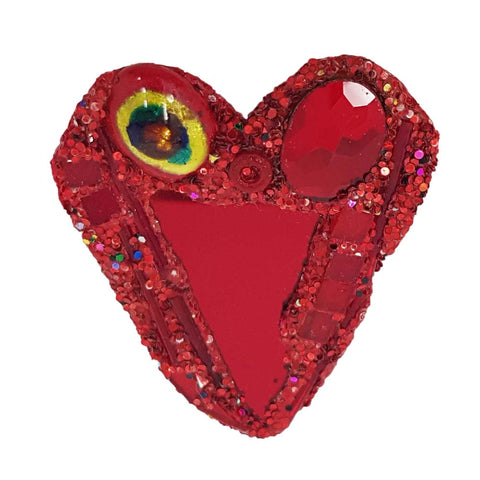 RED WITH YELLOW HEART BROOCH