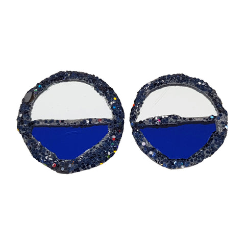 BLUE HALF-MOON CLIP-ON EARRINGS
