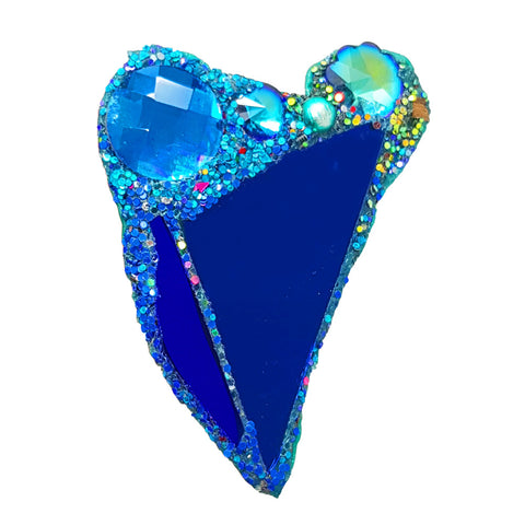 BLUE CRYSTAL HEART BROOCH