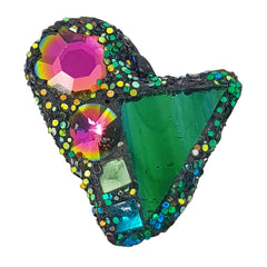 GREEN AND PINK MINI HEART BROOCH